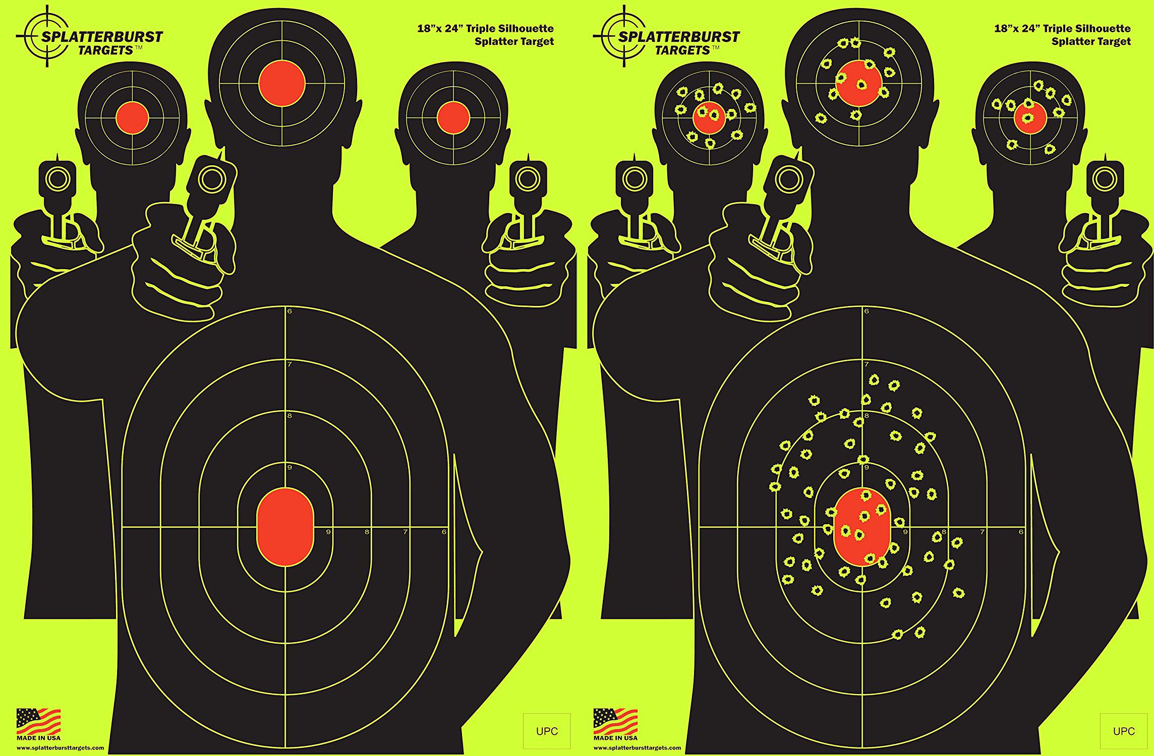 Splatterburst Targets - 18 x 24 inch - Triple Silhouette Reactive Shooting Target