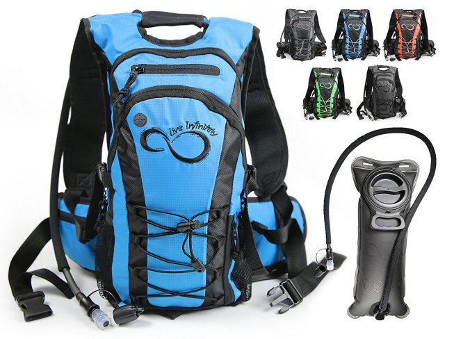 Live Infinitely Hydration Backpack With 2.0L TPU Leak Proof Water Bladder- 600D Polyester