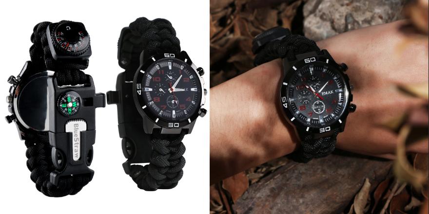 Blue Straw Survival Bracelet Watch