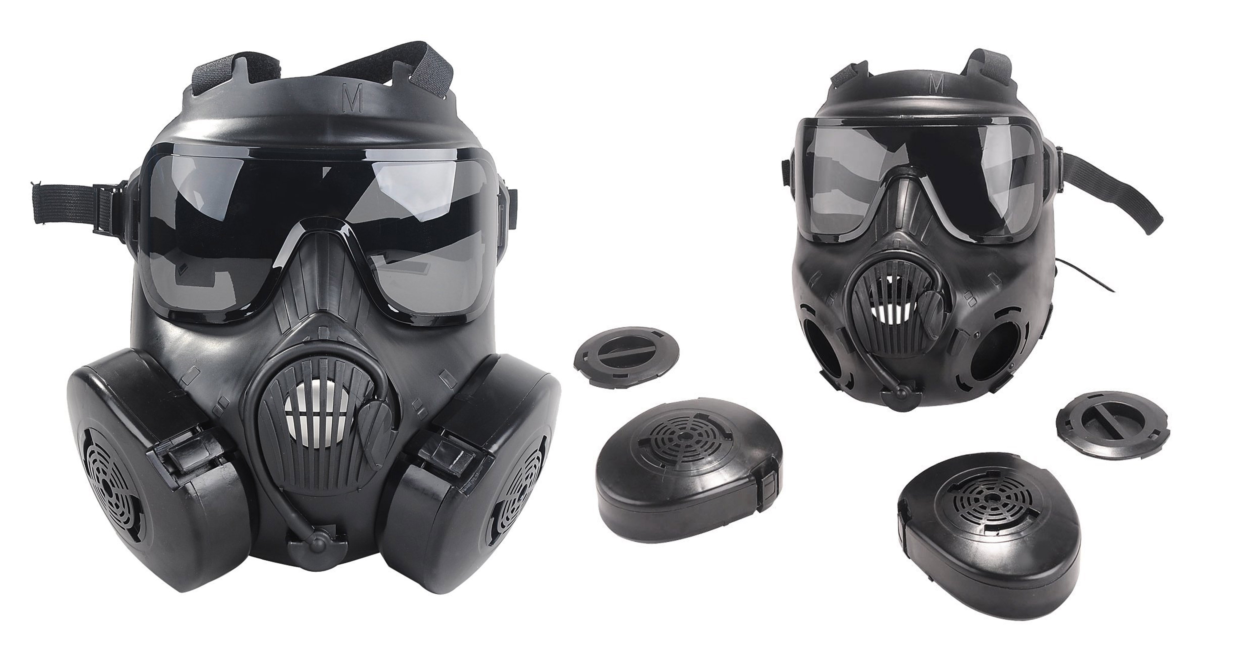 Outgeek M50 Airsoft Mask Full Face Skull CS Mask with Fan (Black)